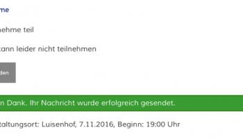 Einloggen auf der Webseite und An/Abmeldung zu Veranstaltungen mit Sendebestätigung