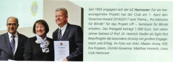 Governor Award Pro Inklusion für Blinde